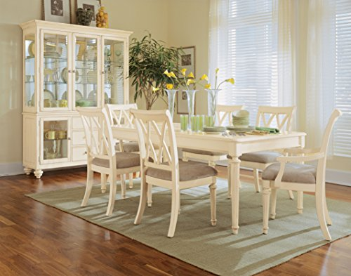 American Drew Camden-Light 8 Piece Leg Dining Room Set - Dining Table, 2 Arm, 4 Side Chairs, China Cabinet in Buttermilk