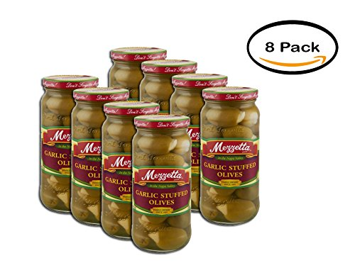 Olives Garlic Stuffed - PACK OF 8 - Mezzetta Garlic Stuffed Olives, 10 oz