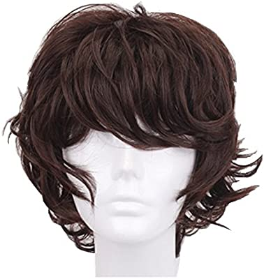dark brown Gods Hand 13 Inch Dark Brown Short Curly Anime Cosplay Wigs with Bang for Men Boys Girls Costume Halloween Party