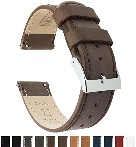 Barton Quick Release - Top Grain Leather Watch Band Strap - Choice of Width - 16mm, 18mm, 19mm, 20mm, 21mm 22mm, 23mm or 24mm - Saddle Brown 18mm ()