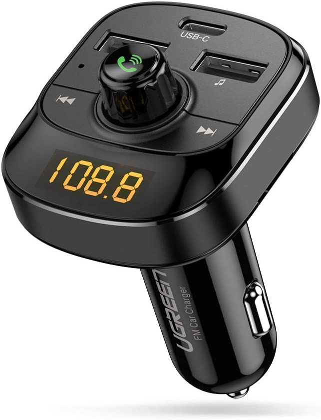 UGREEN Transmisor FM Bluetooth 5.0 Coche, 18W USB Tipo C PD3.0 /QC3.0 Carga Rápida, Manos Libres Bluetooth Reproductor MP3 Coche con CVC 6.0 Redución de Ruido y Mic Incorporado, Soporte 64G TF/U-Disk