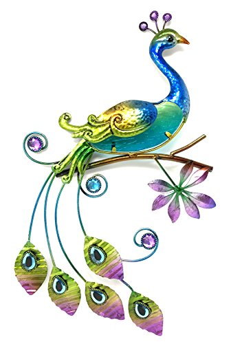 Peacock Displays - Bejeweled Display® Peacock w/ Glass Wall Art Plaque & Home Decor