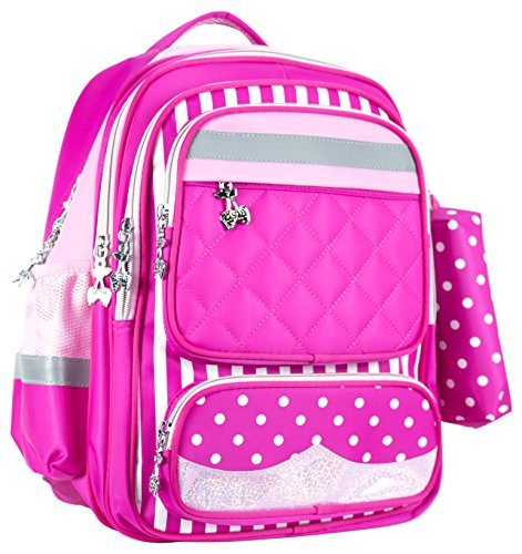pink backpack for girls luggage carry-on traveling sports soccer bag brand reflective tape rolling 6 wheels trolley away travel daddy's girl overnight sport laptop tablet homework sleepover (Soccer Girls Backpack)