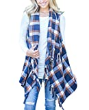 Yobecho Womens Sleeveless Cardigan Plaid High Low Open Front Draped Cardigan Vests Blouses