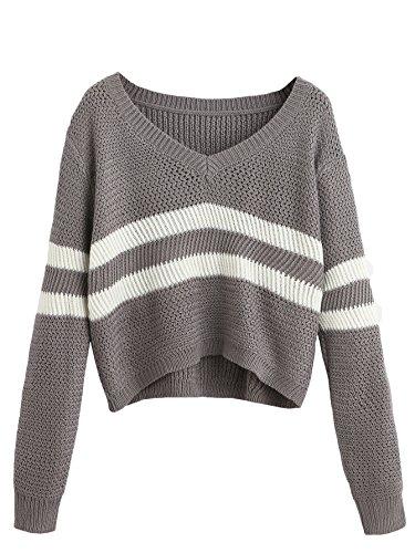 SheIn Damen V-Ausschnitt Langarm Kurz Pullover mit Streifen Einheitsgröße