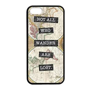 Inspirational Quote Not All Who Wander Are Lost - Vintage World Map Pattern iPhone 5 5S Case Covers Anti-Scratch Extreme Protection Compatible with iPhone 5 5S TPU(Laser Technology)