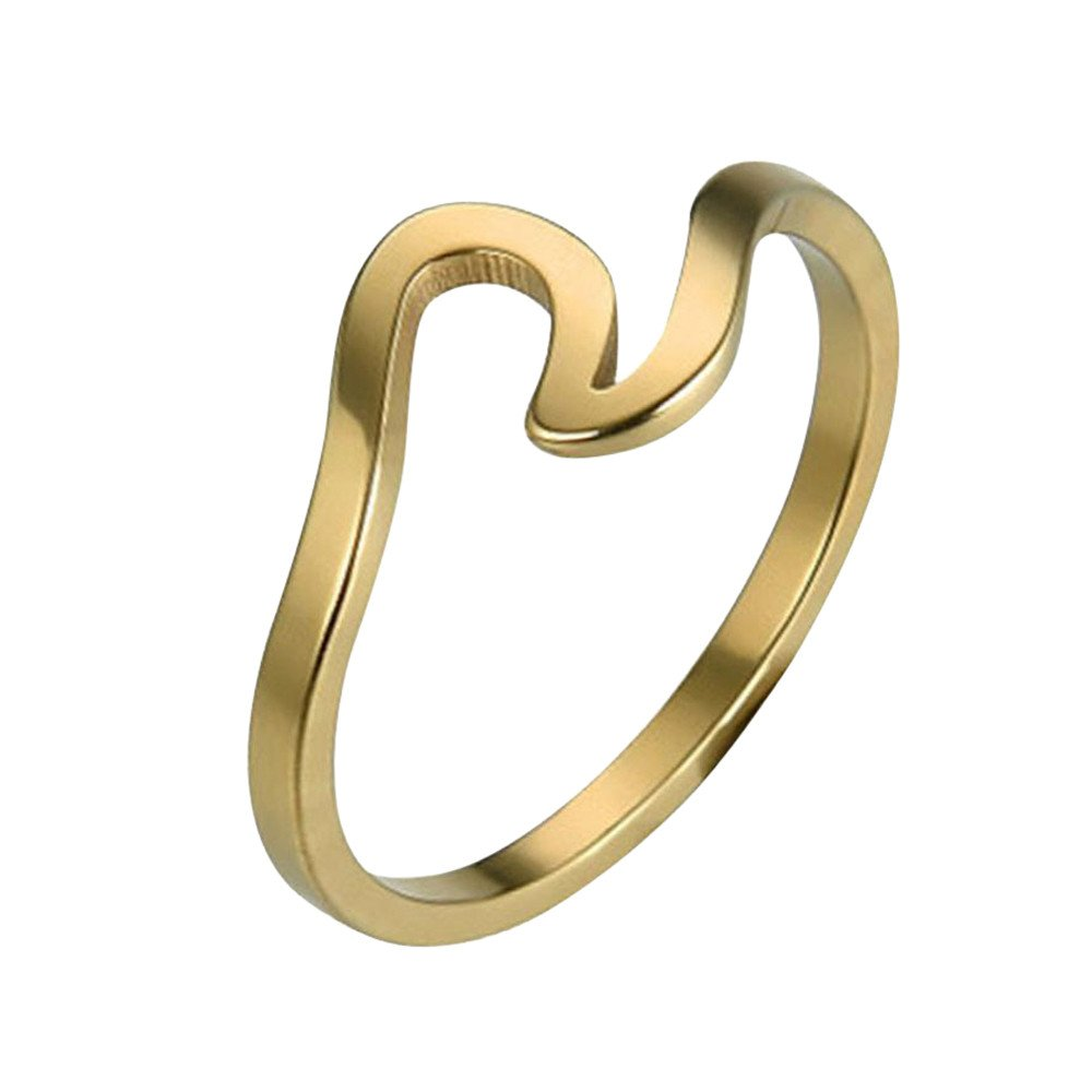 Peigen Romantic Wave Ring Wedding Ring for Women,Wave Ring Wedding Ring for Women Jewelry Accessories Rose Gold Gold Engagement