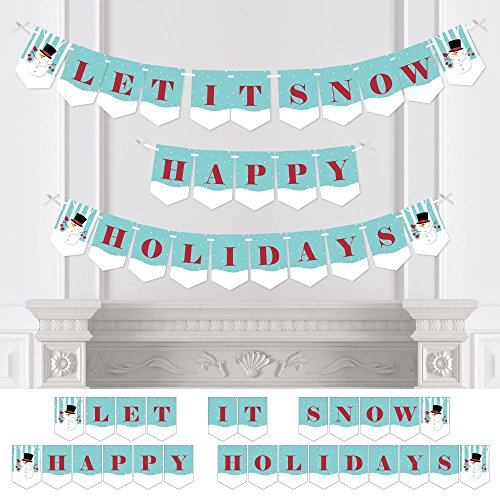 Big Dot of Happiness Let It Snow - Snowman - Holiday & Christmas Bunting Banner - Winter Party Decorations - Let It Snow Happy Holidays