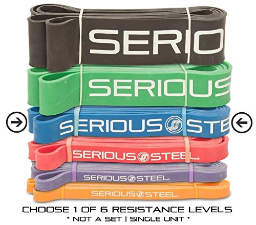 "Serious Steel Fitness Blue - #3 Light Pull-Up Assist & Stretching Resistance Band (Size: 1.125""W, Resistance: 20-80lbs) Pull-Up and Starter Band e-Guide INCLUDED"
