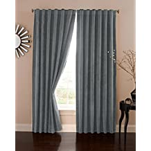 "Absolute Zero Velvet Blackout Home Theater Curtain Panel, 108"", Charcoal"