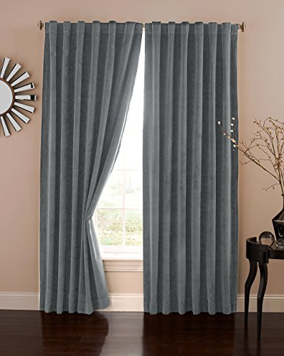 Absolute Zero 11718050X063CHR Velvet Blackout Home Theater 50-Inch by 63-Inch Single Curtain Panel, Charcoal