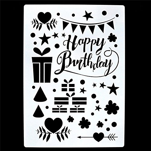 Welcome to Joyful Home 1PC Happy Birthday DIY Drawing Template Stencil for Journal/Diary/Calendar/Planner/Scrapbook A4 Size Wall Painting - Happy Birthday Templates