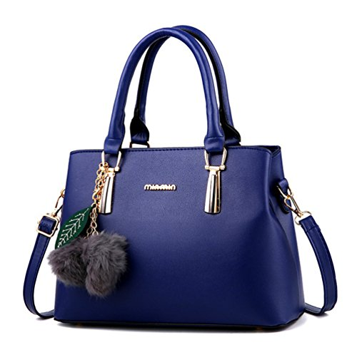 (Dreubea Women's Leather Handbag Tote Shoulder Bag Crossbody Purse Blue)