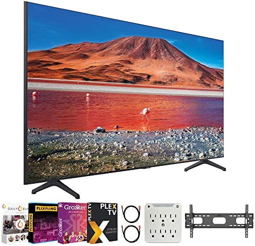 "SAMSUNG UN43TU7000 43"" 4K Ultra HD Smart LED TV (2020 Model) Bundle with Premiere Movies Streaming 2020 + 30-70 Inch TV Wall Mount + 6-Outlet Surge Adapter + 2X 6FT 4K HDMI 2.0 Cable"