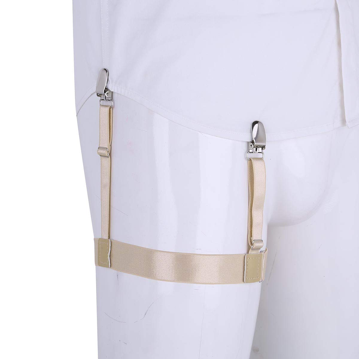 Freebily Mens Dress Shirt Stays Adjustable Garter Belts Non-slip Clamps
