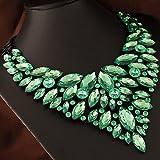 style11 green - Women Fashion Pendant Crystal Flower Choker Chunky Statement Chain Bib Necklace