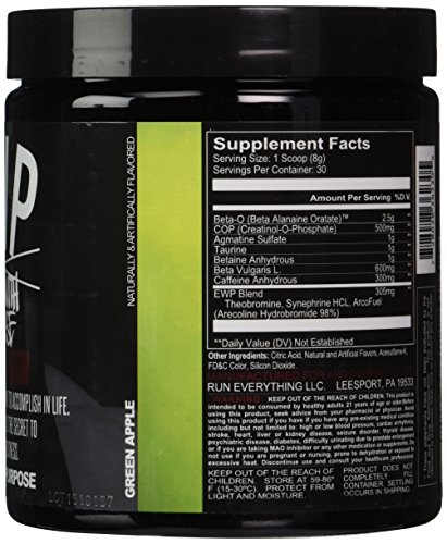 Run Everything Labs Enter with Purpose Pre-Workout Powder, Green Apple, 8.46 Ounce