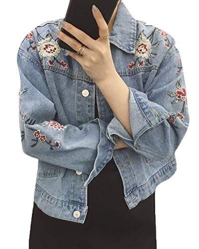 Primaverile Giacche Outerwear Fiore Baggy Manica Denim Scuro Autunno Fashion Vintage Eleganti Lunga Casuali Ricamo Bavero Jacket Donna Cappotto Jeans Classiche Donne Corto Blu Fiori rwwUXZPq