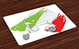 Lunarable Italian Flag Place Mats Set of 4, Little Scooter in front of Colosseum with Paintbrush Flag Design, Washable Fabric Placemats for Dining Room Kitchen Table Decoration, Vermilion Green White