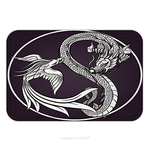 Flannel Microfiber Non-slip Rubber Backing Soft Absorbent Doormat Mat Rug Carpet Dragon And Phoenix 404069407 for - Phoenix Westgate