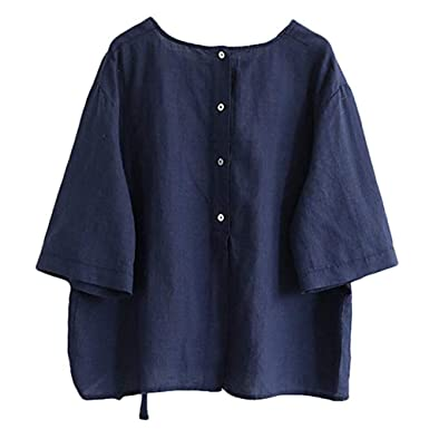 Farjing Women S Linen Blouse Loose Tunics Tops Shirt With Bow At
