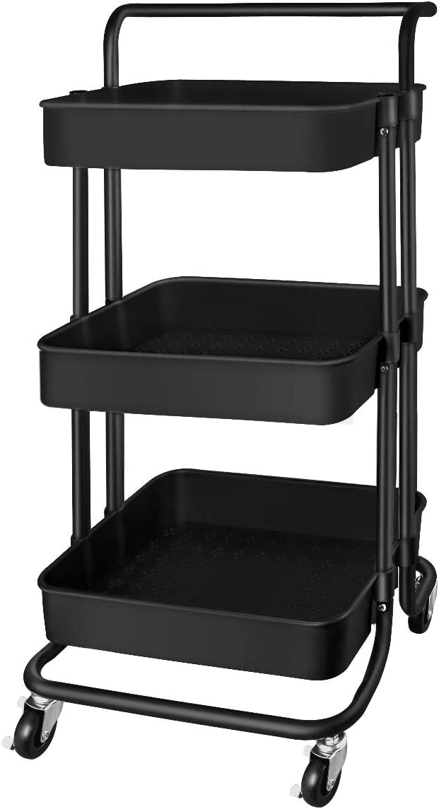 QiMH 3 Tier Rolling Storage Cart with Wheels Handle, Heavy Duty Mobile Rolling Utility Cart Multifunction Large Storage Shelves Organizer with Mesh Basket for Kitchen, Bathroom, Bedroom, Office, Black