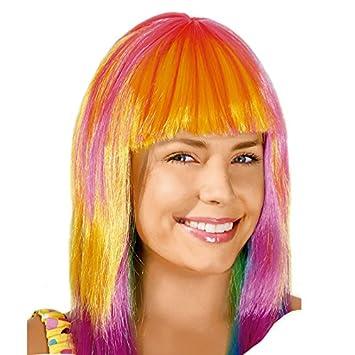 Peluca Larga Lisa multicolor Accesorio Carnaval