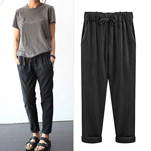 Pluderhose Vintage Elegantes Harem Con Anchas Grande Taille Talla Unicolor  Mujeres Pantalon Pantalones De Verano Libre Tiempo Elastische ... 4cdde1c5005d