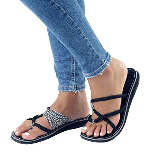Sandales Mode Bohême De Femme Flip Casual Été Herringbone Plage Chaussures Blanc Tressée Toe Noir Plats Femmes Clip Flops Minetom 4tqzZww