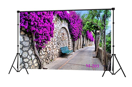 (LB 7x5ft Nature Theme Stree Flower Wall Photography Backdrop Rustic Photo Background Studio Prop Vinyl Customized M-203)