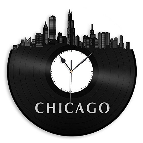 VinylShopUS - Chicago Illinois Skyline Vinyl Wall Clock Vintage Repurposed Record White