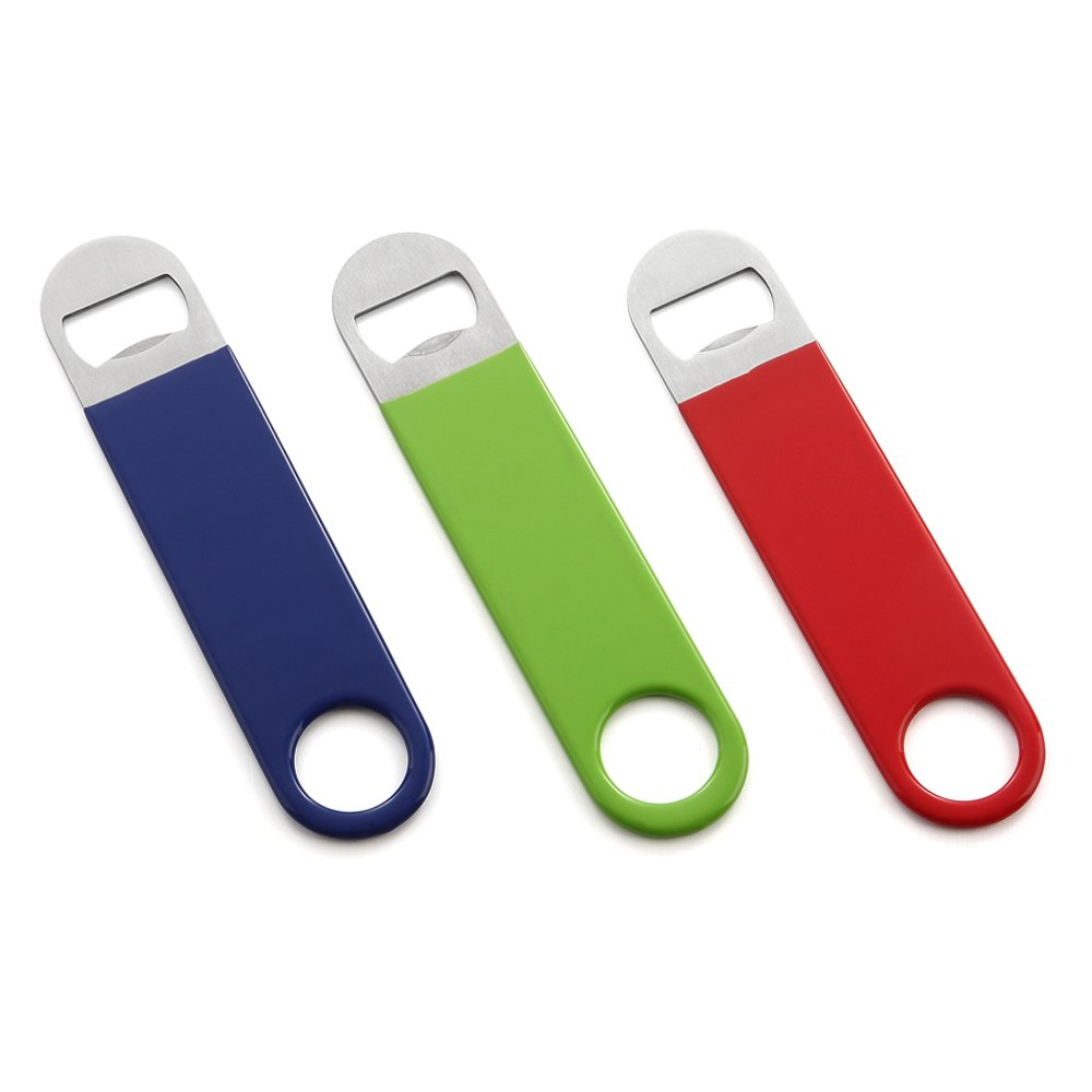 HQY 3 Pack Heavy Duty Stainless Steel Flat Bottle Opener, Solid Easy to Use Best Bottle Openers FlatRed&Green&Blue