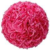 Elegant 10 Inch Satin Flower Ball for Wedding Party Ceremony Decoration (Dark Pink)