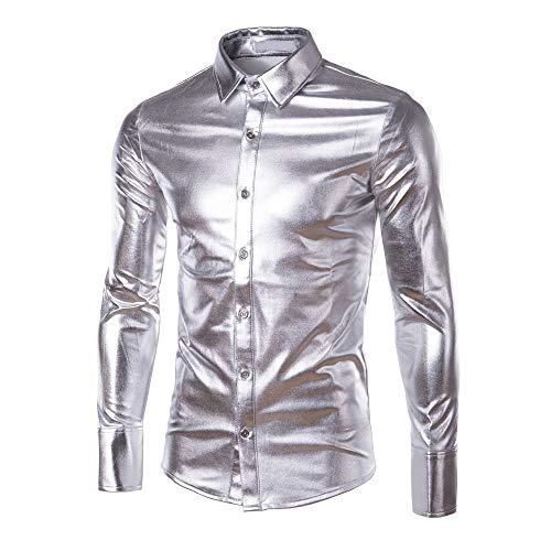 Tops De Longues Ihengh À Brillant Surface Blouse Revêtement Hauts Hommes Mode Argent Chemises Avec Nouvelles Manches Peintes les UBq5q8wP