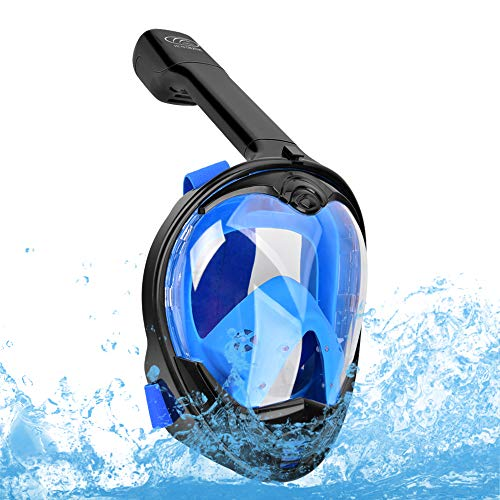 Full Face Snorkel Mask-Diving Mask with 180 Panoramic View Easy Breath, Anti-Fog & Anti-Leak for Kids & Adults, Detachable Camera Mount Dual Snorkeling Gear Perfect for Diving & Swimming
