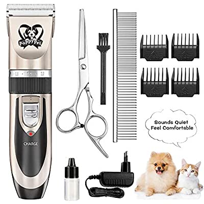 Dog Grooming Hair Clippers, Dog Trimmer Clippers for Thick Coats, Cordless Pet Grooming Kit Professional Heavy Duty for Large and Small Dogs