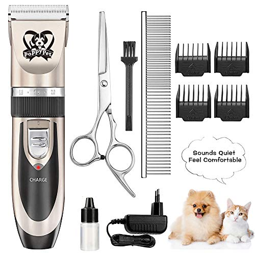 poppy pet Dog Grooming Hair Clippers, Dog Trimmer Clippers for Thick Coats, Cordless Dog Clippers Professional Heavy Duty, Sheer Clippers for Large and Small Dogs