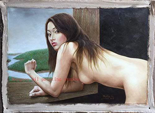 Fine Art Original Oil Painting on Canvas Sexy Oriental Nude Girl Painted&Signed Unique Art Sale Pure Lady Nude Model 24