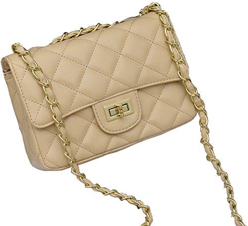 Galleon - Covelin Women s Leather Fashion Handbag Quilting Envelope Cross  Body Shoulder Bag Apricot b6866b3d73b04