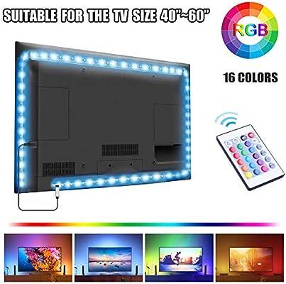 UTTORA Tira LED TV 2M, Tiras LED USB con Control Remoto, 16 RGB Colores y 4 Modos, Retroiluminacion LED de TV para Cine en Casa, HDTV/PC Monitor (40-60 Pulgada)[Clase de eficiencia energética