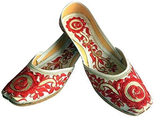 Shoes Da Le Donna Forma Phulkari Classica Ballerina Scarpe Jutti bianco A Motivo scarpe S Khussa Dicono Di Multicolore rosso Donne Step N Punjabi Etnico PAzqFF
