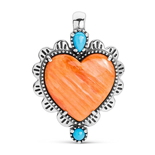 American West - Earth Spirit Sterling Multicolored Heart Pendant Enhancer - Earth Spirit Collection