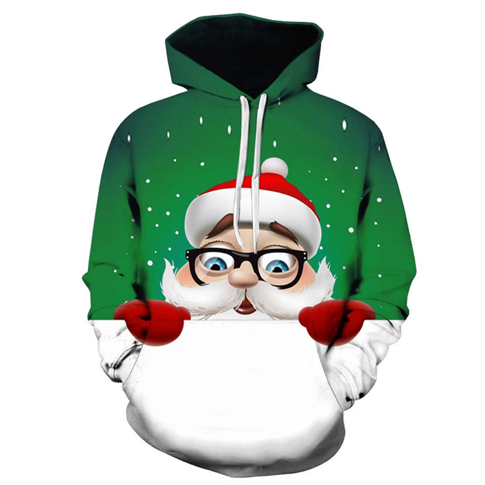 Mens Santa Claus 3D Printed Christmas Pullover Long Sleeve Hooded Sweatshirt Tops
