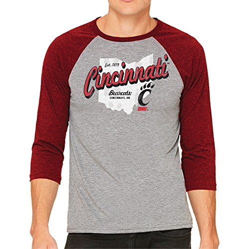 Cincinnati Bearcats Ncaa Baseball - Original Retro Brand NCAA Cincinnati Bearcats Men's 3/4 Baseball Tee, Small, Heather/Red