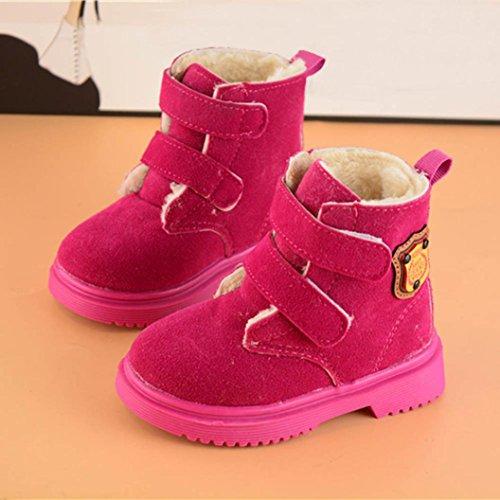 Huhu833 Kinder Mode Jungen Mädchen Stiefel Martin Stiefel Winter Warm Boots Kinder Schuhe Casual Snow Boots Schuhe Rot