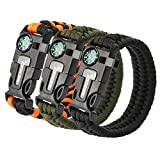 Rescue Survival Knife - OXA Survival Paracord Bracelet, Emergency Outdoor Paracord Survival Bracelet with Multi Tool - Embedded Compass, Fire Starter, Emergency Knife, Whistle, Rescue Rope for Hiking Traveling
