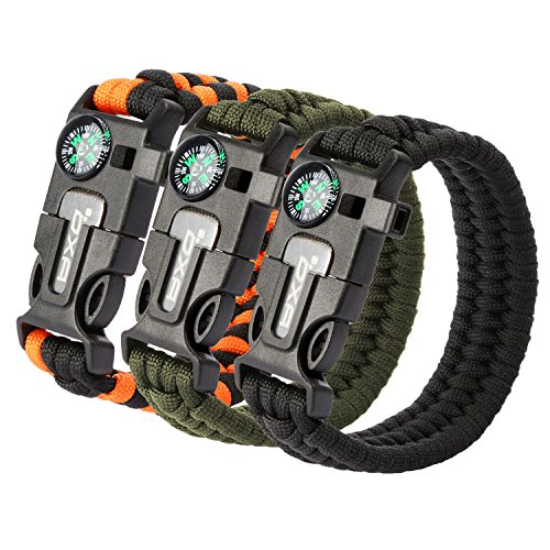 OXA Survival Paracord Bracelet, Emergency Outdoor Paracord Survival Bracelet with Multi Tool - Embedded Compass, Fire Starter, Emergency Knife, Whistle, Rescue Rope for Hiking Traveling