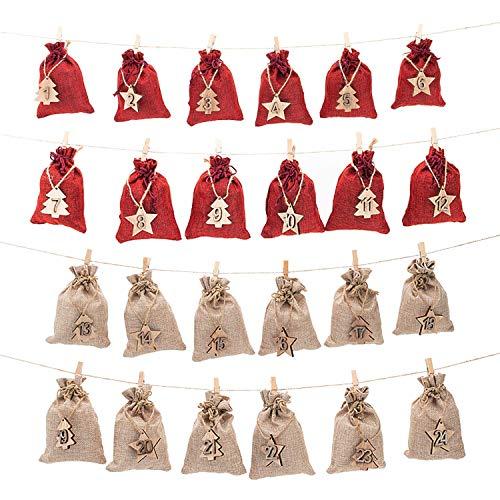[해외]AHUA 24 Day Countdown Advent 캘린더 선물 가방 황마 포장 보관 리넨 주얼리 파우치 자루 크리스마스 장식용 웨딩 신부 샤워 DIY 공예 선물 파티 선물 / AHUA 24 Day Countdown Advent Calendar Gift Bags Jute Packing Storage Linen Jewelry Pouc...