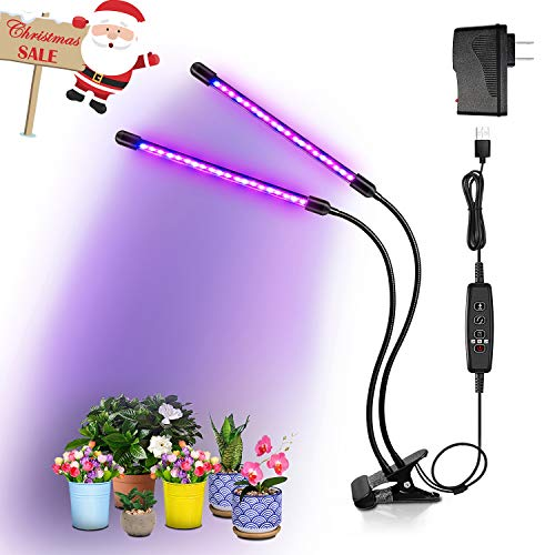 $28.99 BRIONAC LED Grow Light, 20W 40 LED Bulbs, 9 Dimmable Levels, 3/9/12H Timer Grow Lamp with Dual Head Flexible Gooseneck for Indoor Plants Growing 2019