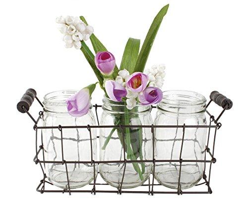 Blossom Bucket Three Mason Jars in Wire Basket W/Handles Home -